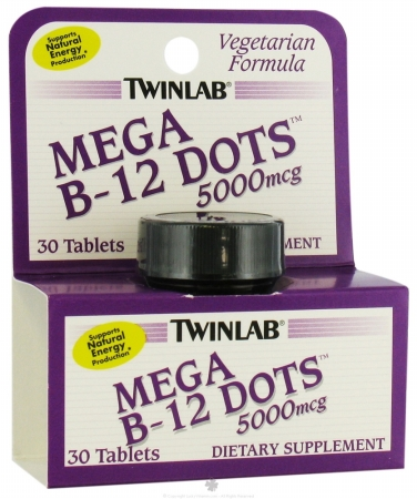 Twinlabs 80620 Mega B-12 Dots 5000 mcg Dietary Supplement Tablets
