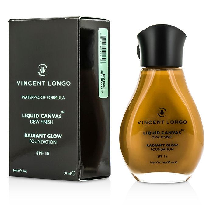 Vincent Longo 92341 Liquid Canvas Dew Finish Waterproof Foundation SPF 15 Rich Sienna - 30 ml-1 oz