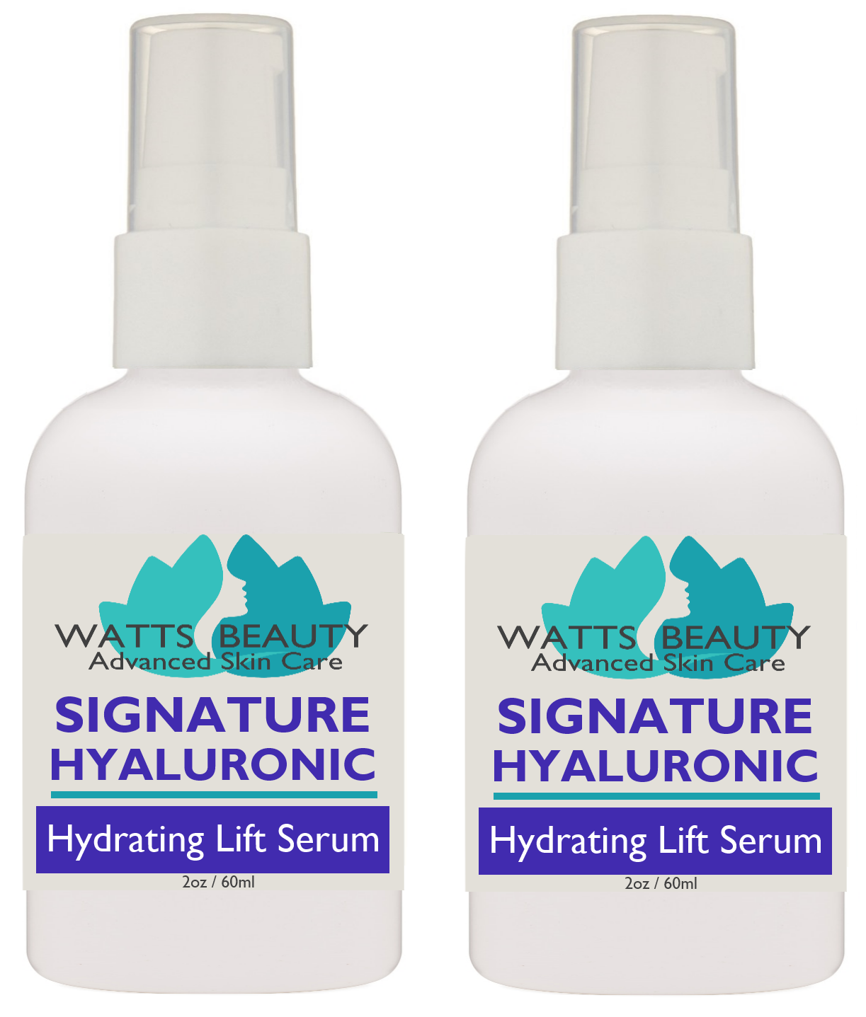 Watts Beauty 100% Signature Pure Hyaluronic Acid Serum 4 oz - Pack of 2