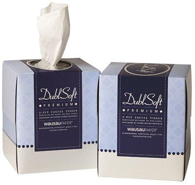 Wausau 06185 Dublsoft Facial Tissue Premium Cube Box 2ply - Case of 36