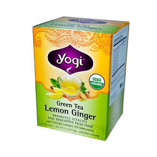 Yogi 672378 Yogi Tea Organic Green Tea Lemon Ginger - Caffeine - 16 Tea Bags