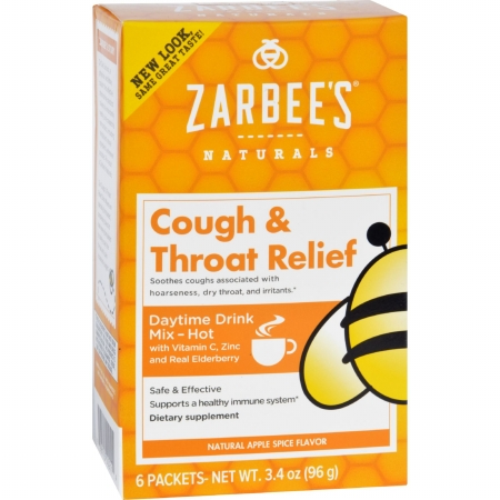 Zarbees 1689843 Gluten Free Cough & Throat Relief Daytime Drink Mix Supplement 6 Packets