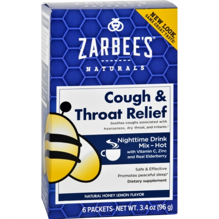 Zarbees 1689850 Gluten Free Cough & Throat Relief Nighttime Drink Mix Supplement 6 Packets