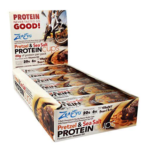 Zenevo 9790001 Protein Cups Pretzel & Sea Salt - 12 Per Box