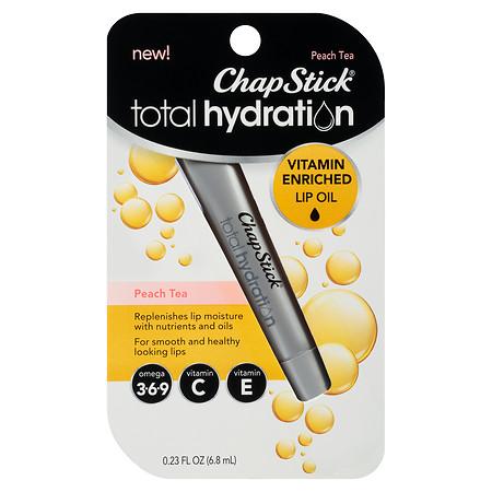 ChapStick Total Hydration Vitamin Enriched Lip Oil, Vitamin C, Vitamin E Peach Tea - 0 fl oz