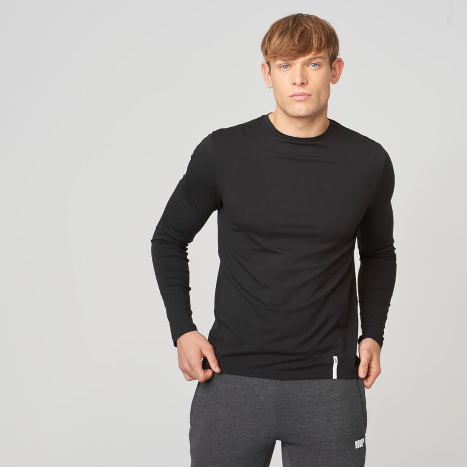 Myprotein Luxe Classic Long-Sleeve Crew T-Shirt - Black - XL