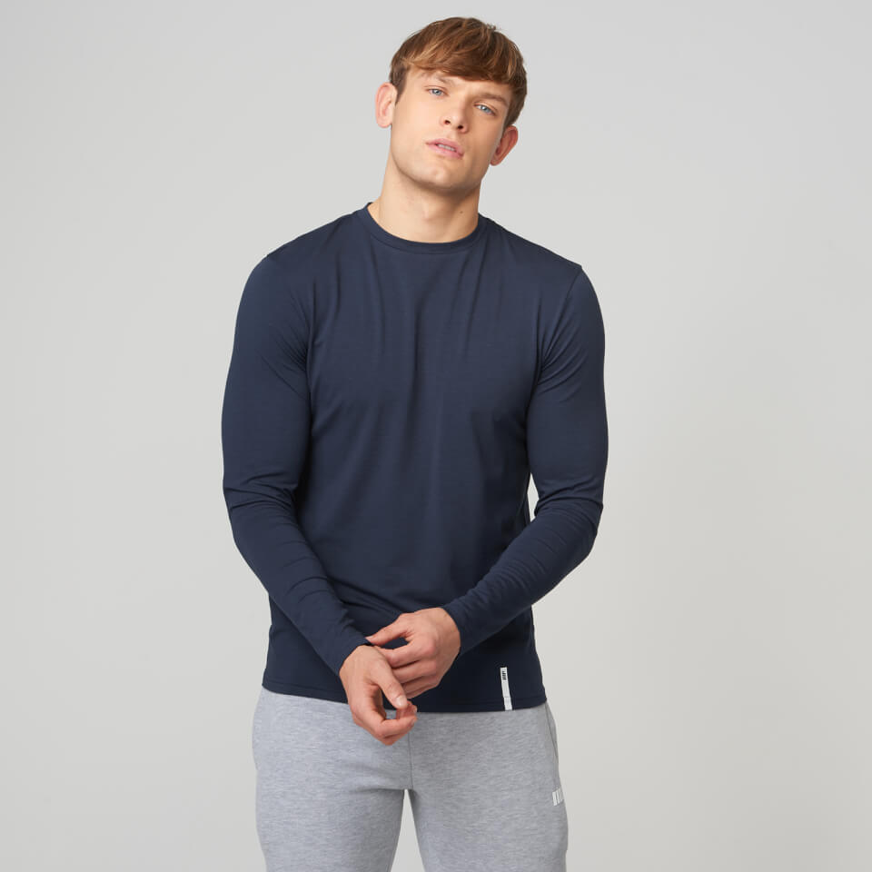 Myprotein Luxe Classic Long-Sleeve Crew T-Shirt - Navy - M