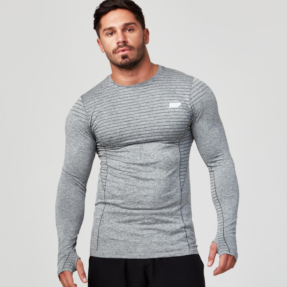 Seamless Long Sleeve T-Shirt - Grey Marl - S