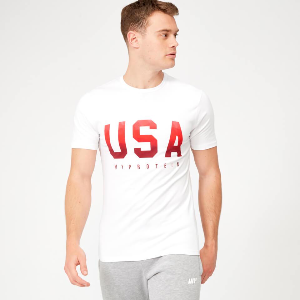 USA Geometric T-Shirt - White - XXL