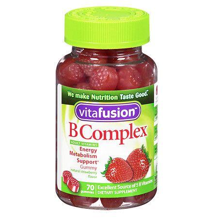 Vitafusion B Complex Energy, Adult Vitamins, Gummies Wild Strawberry - 70 ea