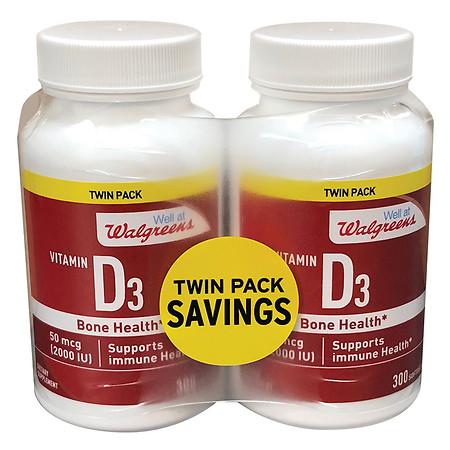 Well at Walgreens Vitamin D3 2000 IU Softgels - 300 ea