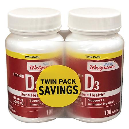 Well at Walgreens Vitamin D3 5000 IU Softgels - 100 ea