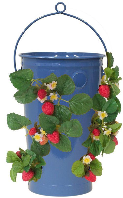 7 in. dia. x 13 in. Enameled Galvanized Strawberry & Flower Planter Blue