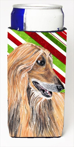 Afghan Hound Candy Cane Holiday Christmas Michelob Ultra bottle sleeves For Slim Cans - 12 Oz.