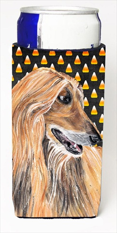 Afghan Hound Candy Corn Halloween Michelob Ultra bottle sleeves For Slim Cans - 12 Oz.
