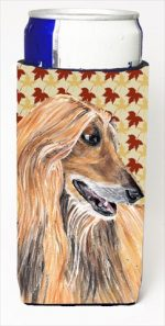 Afghan Hound Fall Leaves Michelob Ultra bottle sleeves For Slim Cans - 12 Oz.
