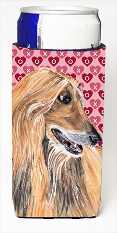 Afghan Hound Hearts Love And Valentines Day Michelob Ultra bottle sleeves For Slim Cans - 12 Oz.