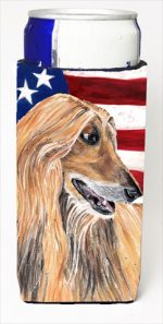 Afghan Hound USA Patriotic American Flag Michelob Ultra bottle sleeves For Slim Cans - 12 Oz.
