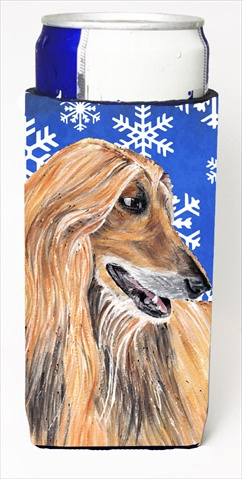 Afghan Hound Winter Snowflakes Holiday Michelob Ultra bottle sleeves For Slim Cans - 12 Oz.