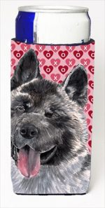 Akita Hearts Love And Valentines Day Michelob Ultra bottle sleeves For Slim Cans - 12 Oz.