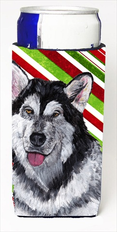 Alaskan Malamute Candy Cane Holiday Christmas Michelob Ultra bottle sleeves For Slim Cans - 12 Oz.