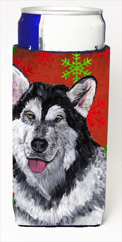 Alaskan Malamute Red Snowflakes Holiday Christmas Michelob Ultra bottle sleeves For Slim Cans - 12 Oz.
