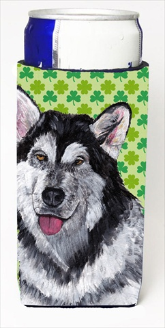 Alaskan Malamute St. Patricks Day Shamrock Michelob Ultra bottle sleeves For Slim Cans - 12 Oz.
