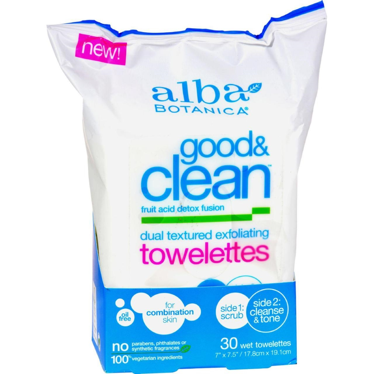 Alba Botanica HG1208347 Good & Clean Exfoliating Towelettes 30 Count