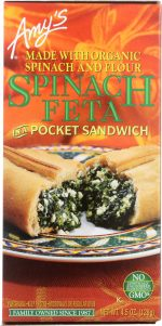 Amys KHFM00030353 Spinach Feta in a Pocket Sandwich - 4.5 oz