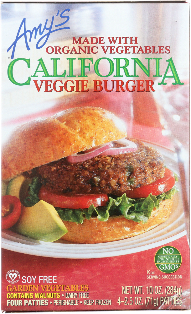 Amys KHFM00030627 California Veggie Burger Garden Vegetables - 10 oz