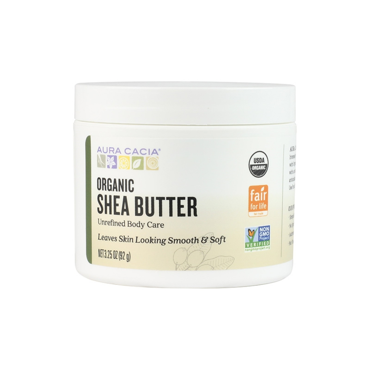 Aura Cacia 190141 3.25 oz Fair Trade Certified Organic Unrefined Shea Butter
