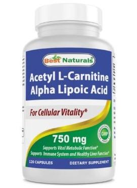 Best Naturals 614241 750mg Alpha Lipoic Acid Plus Acetyl-L-Carnitine 120 Capsules - Case of 12
