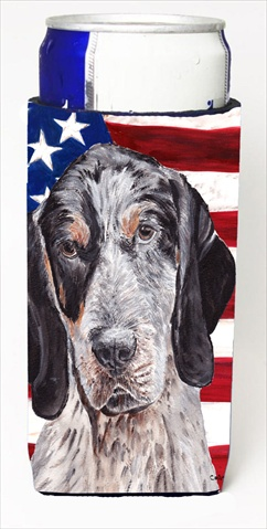 Blue Tick Coonhound With American Flag USA Michelob Ultra bottle sleeves For Slim Cans - 12 Oz.