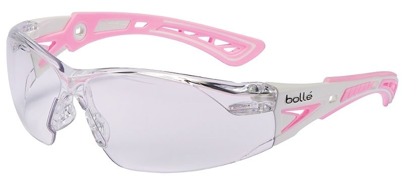 Bolle Safety 286-40254 Rush Plus Small Safety Glasses Clear Anti-Fog Lens White & Pink