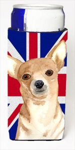 Chihuahua Cooper With English Union Jack British Flag Michelob Ultra bottle sleeves For Slim Cans - 12 Oz.
