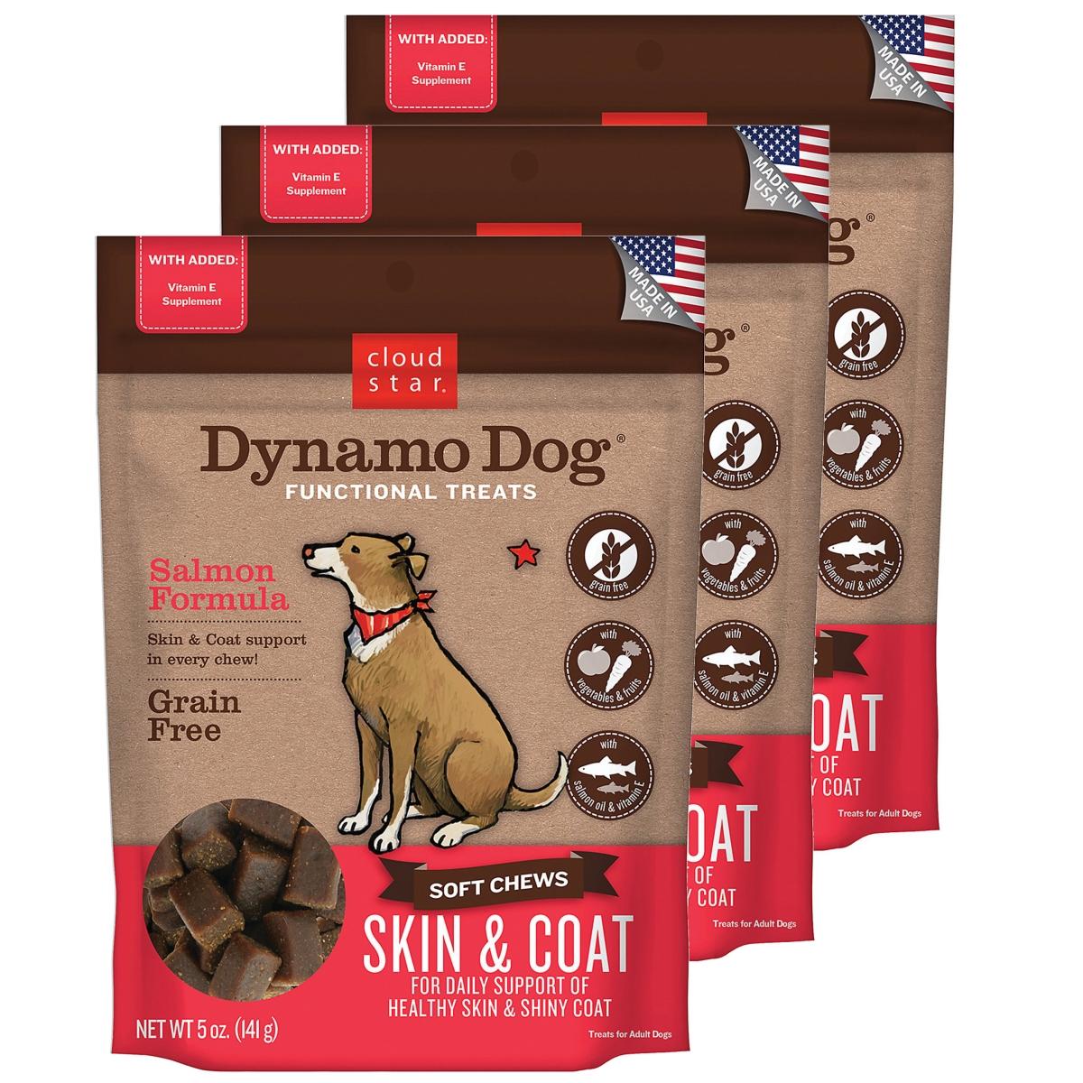 Cloud Star 192959800357 5 oz Dynamo Dog Skin & Coat - Salmon Functional Treats - Pack of 3