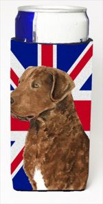 Curly Coated Retriever With English Union Jack British Flag Michelob Ultra bottle sleeves For Slim Cans - 12 Oz.