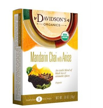 Davidsons Organics 1114 Single Serve Mandarin Chai with Anise Tea - 100 Count