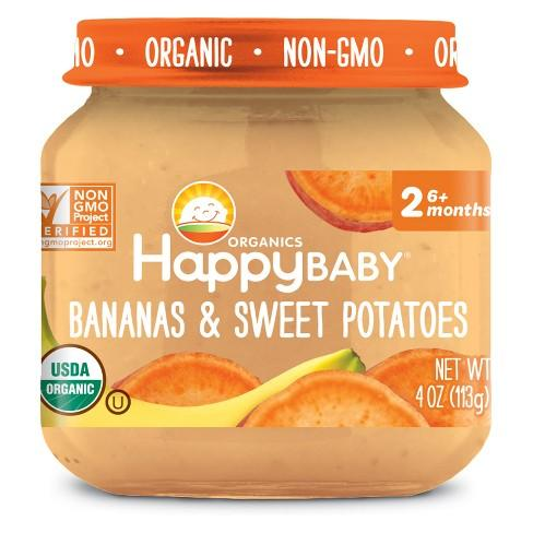 Happy Baby 318854 Stage 2 Banana Sweet Potato Clearly Crafted Baby Food in Jar 4 oz - Pack of 12