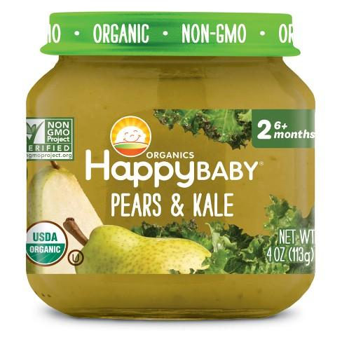 Happy Baby 318856 Stage 2 Pears Kale Clearly Crafted Baby Food in Jar 4 oz - Pack of 12