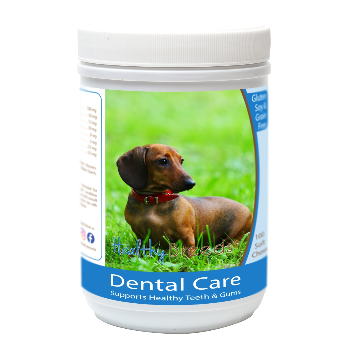 Healthy Breeds 840235162490 Dachshund Breath Care Soft Chews for Dogs - 60 Count