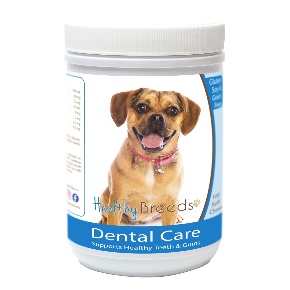 Healthy Breeds 840235162551 Puggle Breath Care Soft Chews for Dogs - 60 Count