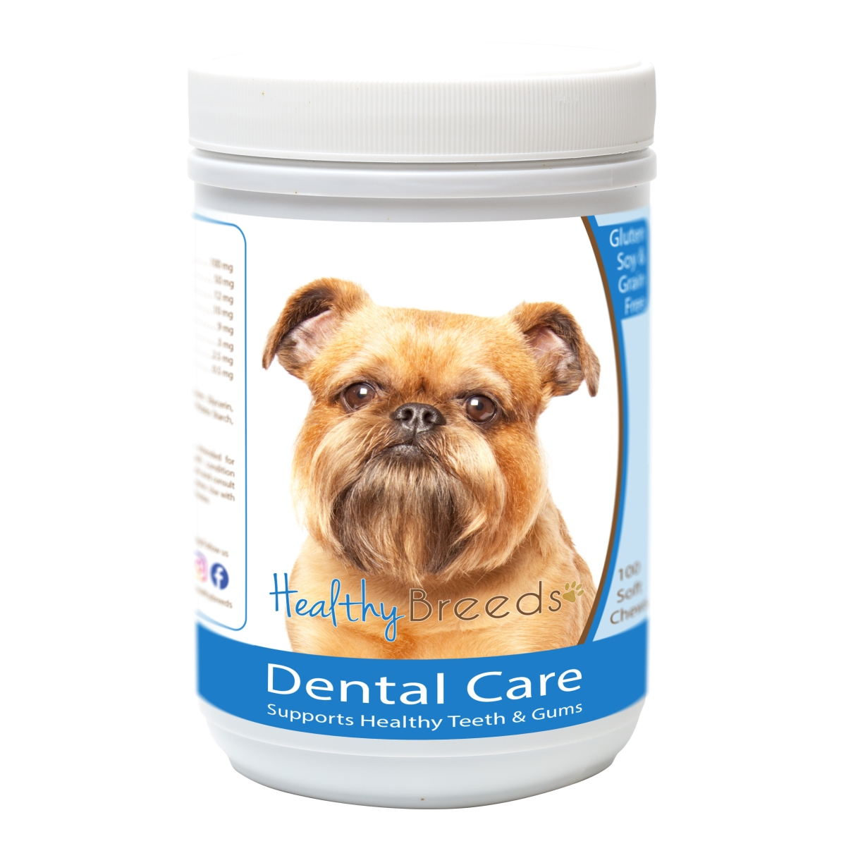 Healthy Breeds 840235162605 Brussels Griffon Breath Care Soft Chews for Dogs - 60 Count