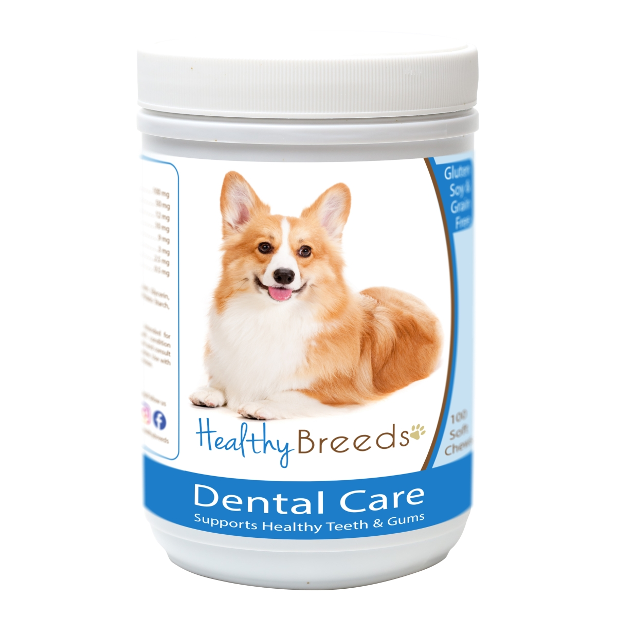 Healthy Breeds 840235162735 Pembroke Welsh Corgi Breath Care Soft Chews for Dogs - 60 Count