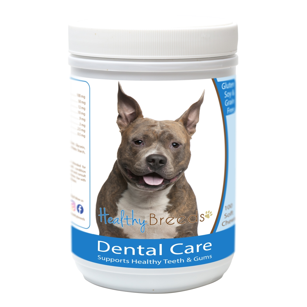 Healthy Breeds 840235163091 American Staffordshire Terrier Breath Care Soft Chews for Dogs - 60 Count