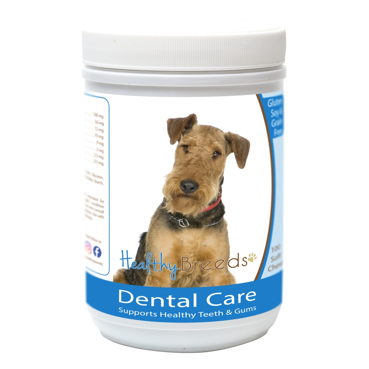 Healthy Breeds 840235163107 Airedale Terrier Breath Care Soft Chews for Dogs - 60 Count