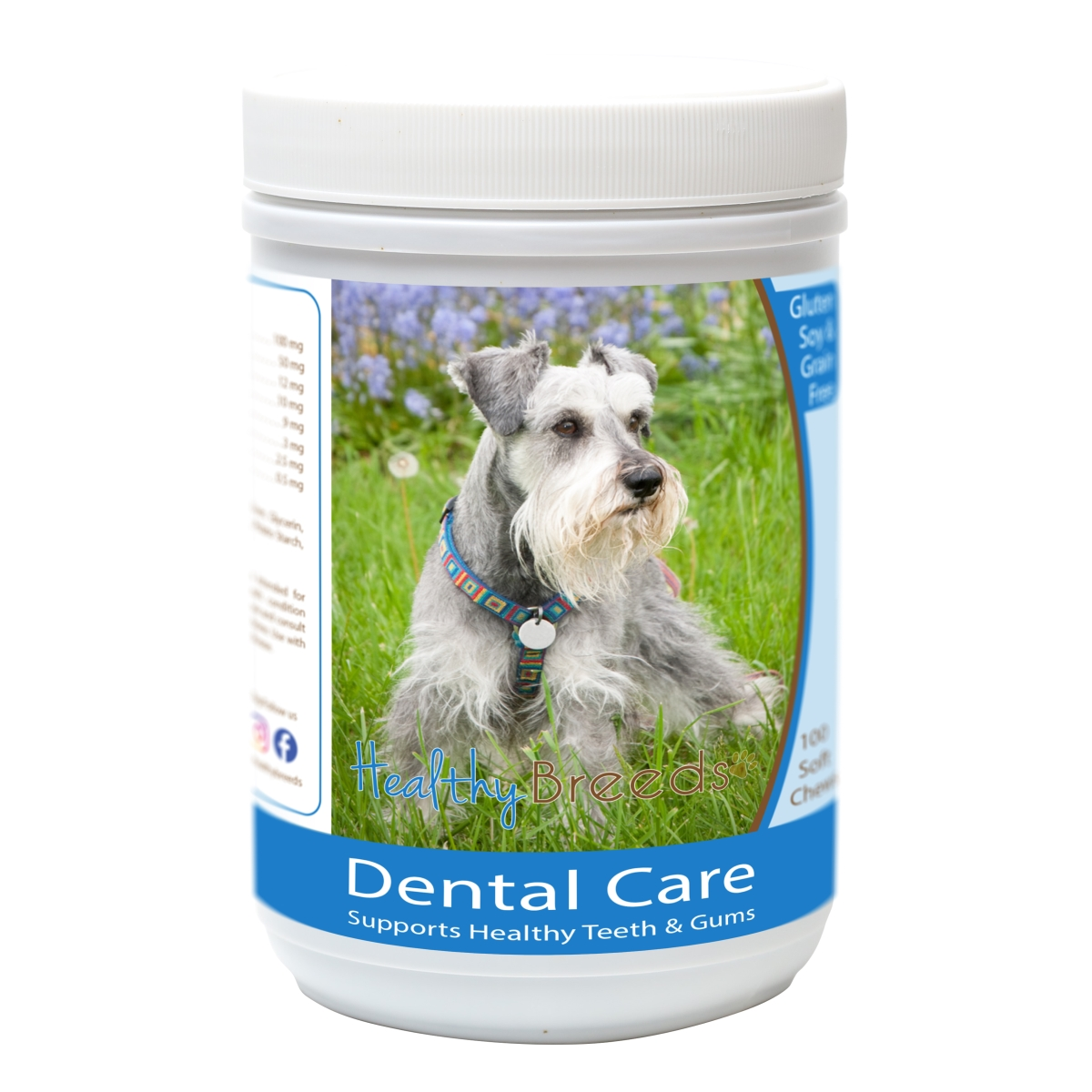 Healthy Breeds 840235163145 Miniature Schnauzer Breath Care Soft Chews for Dogs - 60 Count