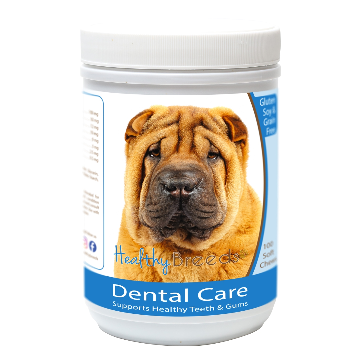Healthy Breeds 840235163206 Chinese Shar Pei Breath Care Soft Chews for Dogs - 60 Count