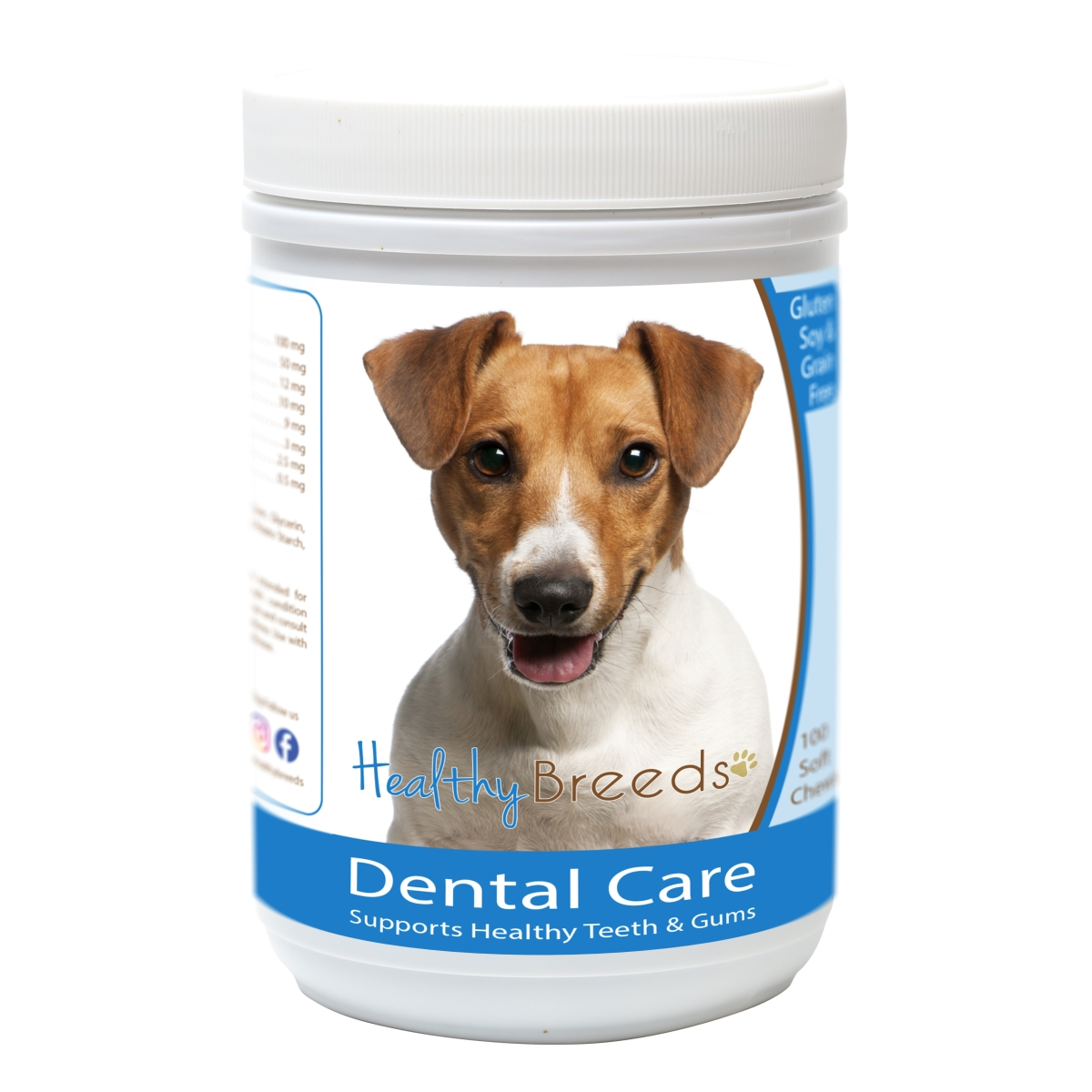 Healthy Breeds 840235163282 Jack Russell Terrier Breath Care Soft Chews for Dogs - 60 Count