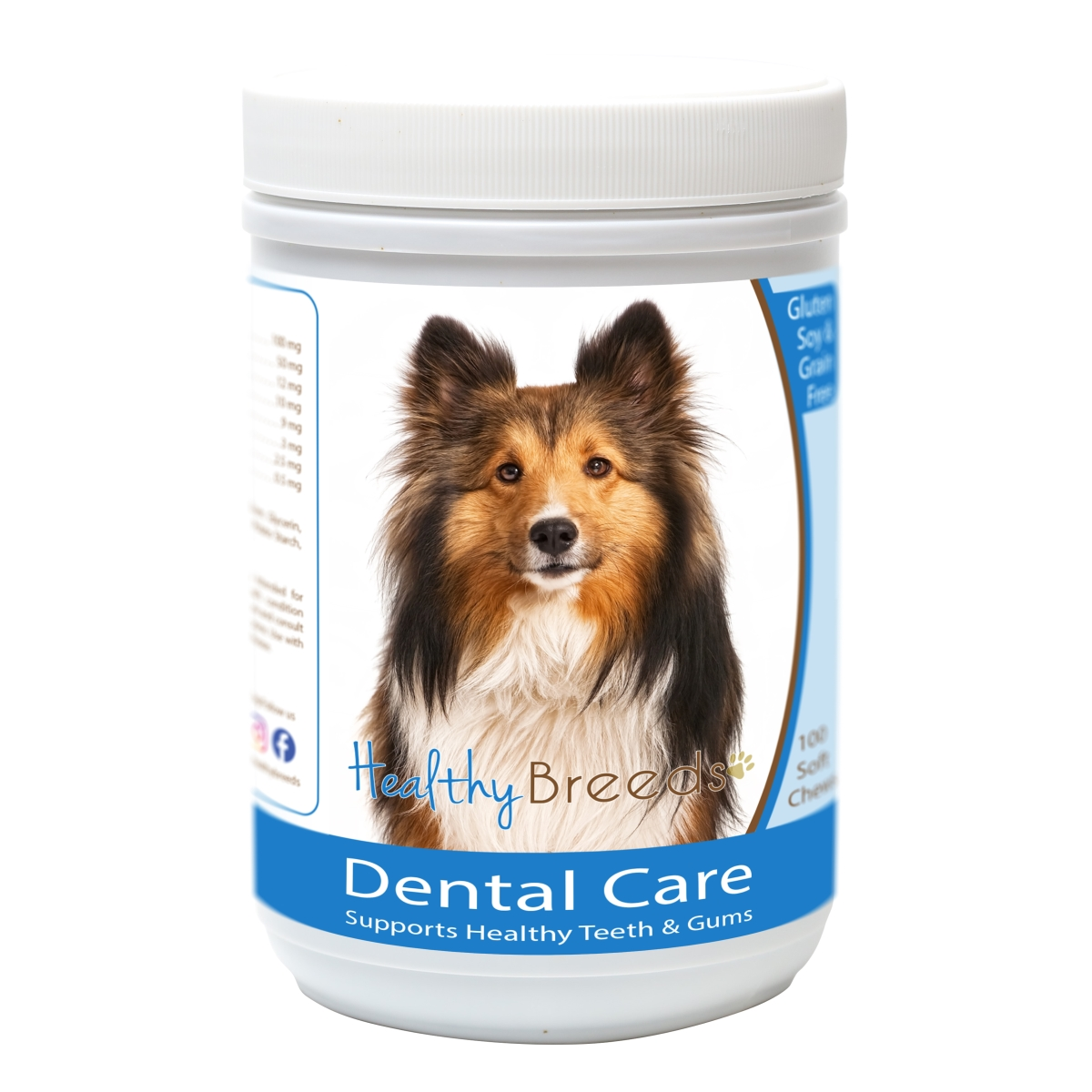 Healthy Breeds 840235163343 Shetland Sheepdog Breath Care Soft Chews for Dogs - 60 Count